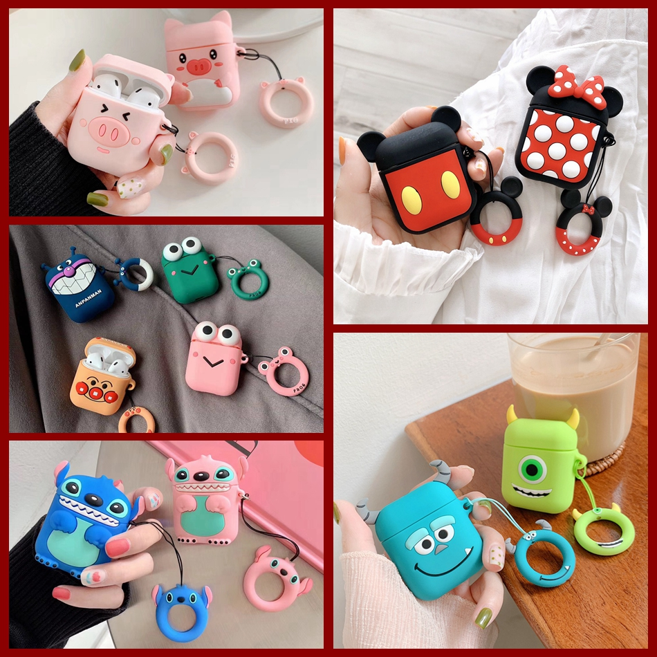 For AirPods Case Cute 3D Cartoon Kawaii Earphone Case For Airpods 2/i10/i11/i12 TWS Soft Protect Cover With Finger Ring Strap
