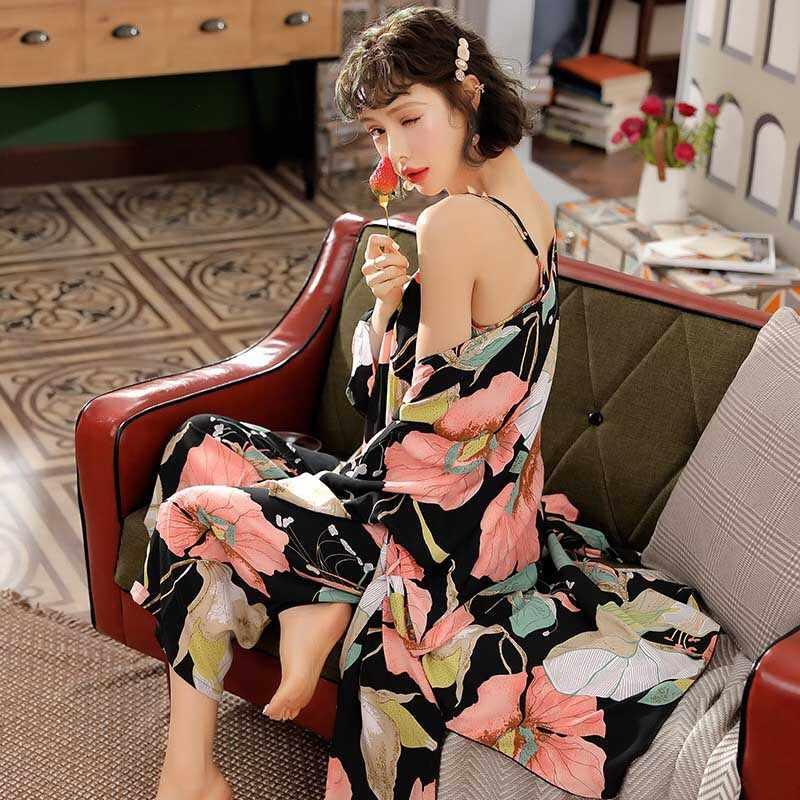 여자 3Pcs 잠옷 세트 2020 봄과 가을 새로운 코 튼 새틴 느슨한 얇은 우아한 잠 옷 세트 카디 건 + 캐 쥬얼 + 바지 Homewear