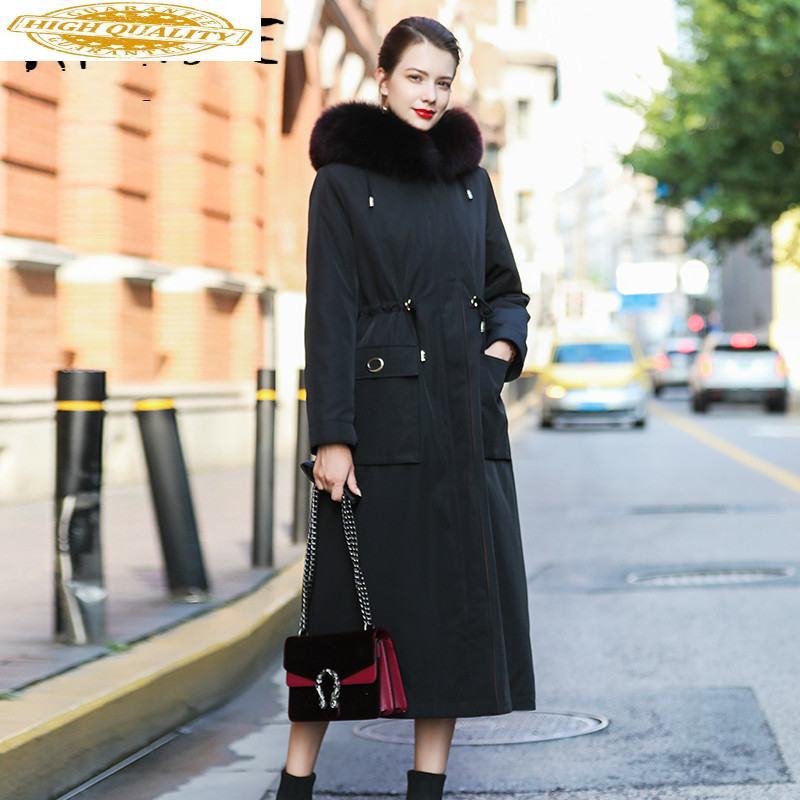 2019 New Real Fur Coat Women Rex Rabbit Fur Coat Winter Coat Women Fox Fur Collar Hooded Warm Parka Abrigo Mujer S-18 YY1605