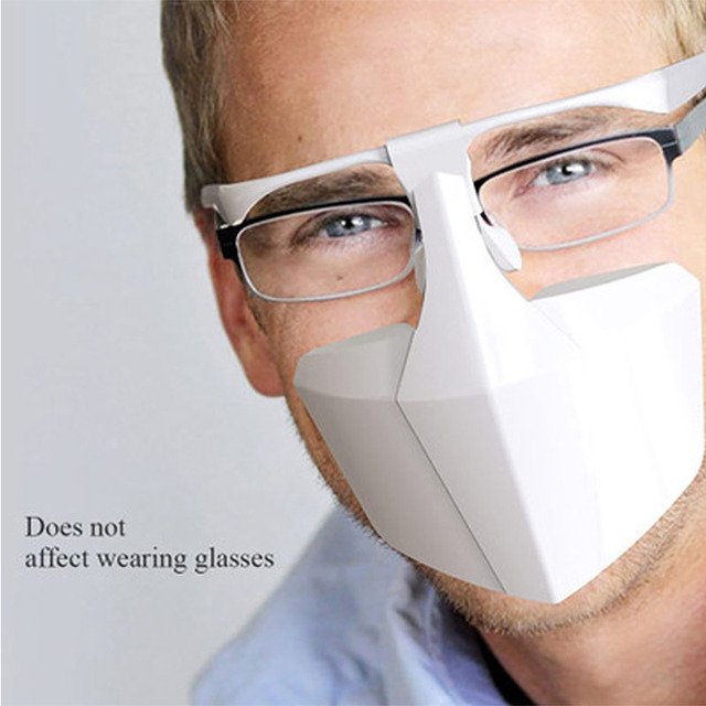 Food Grade PE Mouth Safe Masks Shield Anti Spitting Saliva Screen Protective Face Shield Respirator Half Face Mouth Mask Safer 4