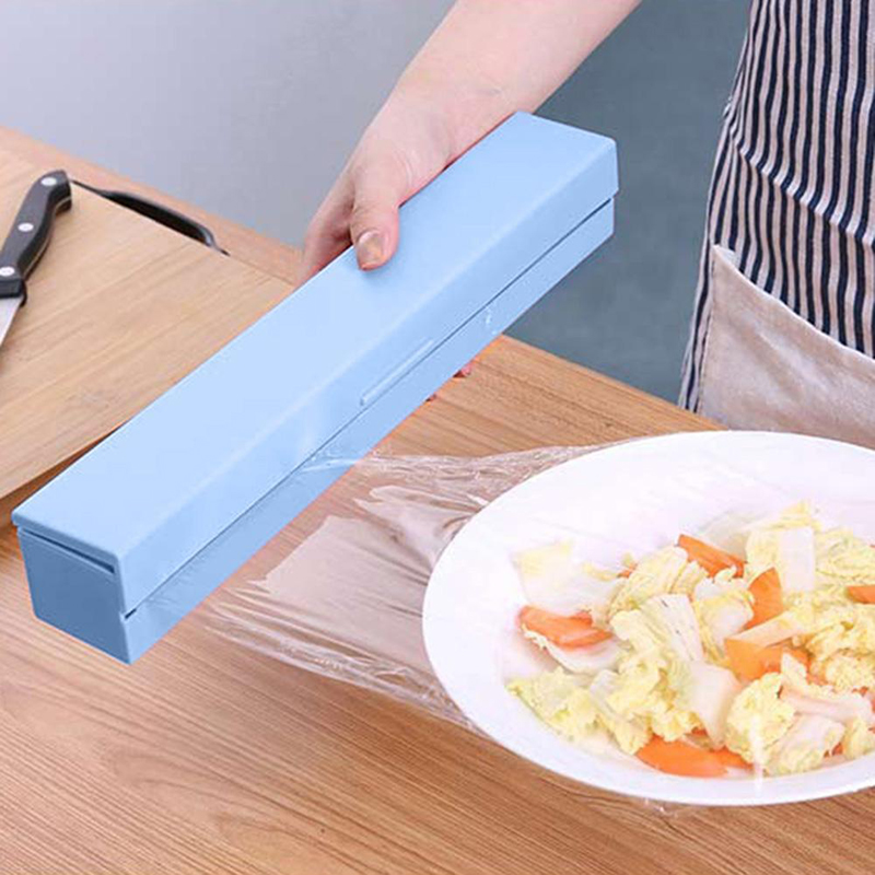 1pc Plastic Food Wrap Cutter Dispenser Wrap Dispenser Kitchen Cling Preservative Film Cutter Storage Kitchen Accessories