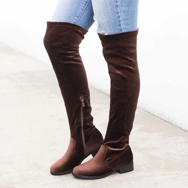 LOOZYKIT 2019 ใหม่รองเท้าเซ็กซี่เข่าสูง Suede รองเท้าบู๊ทหิมะผู้หญิงแฟชั่นฤดูหนาวต้นขาสูงรองเท้าผู้หญิง