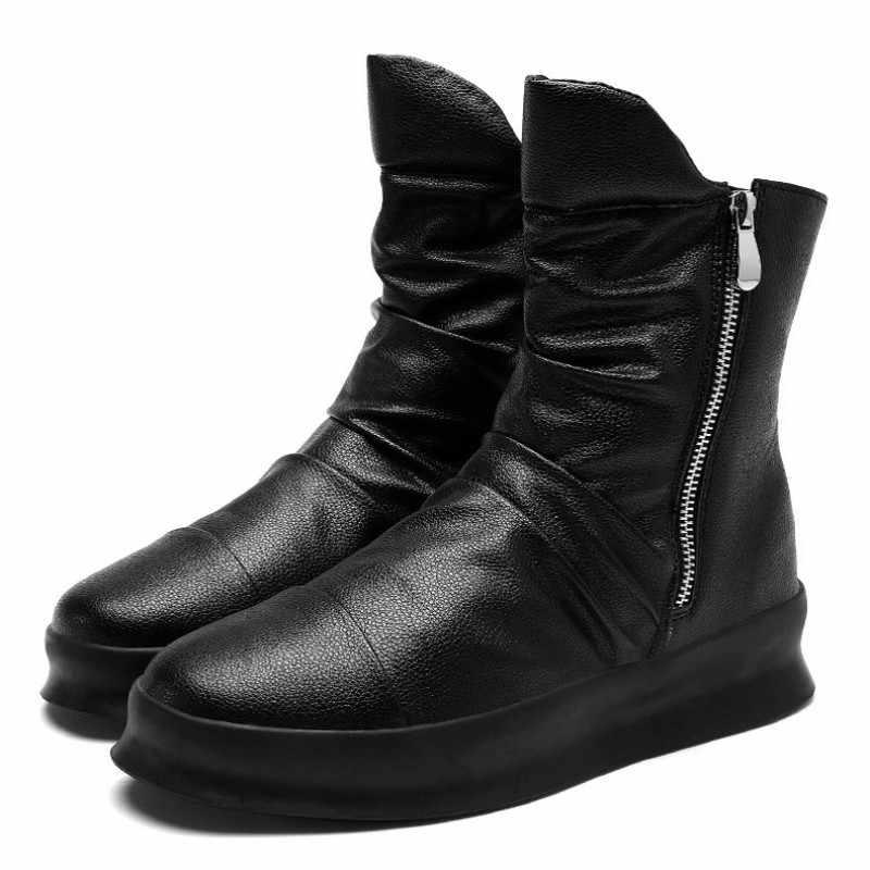 High street men casual branco sapatos de alta qualidade estilo britânico botas chelsea zíper altura crescente plataforma tênis botas de trabalho