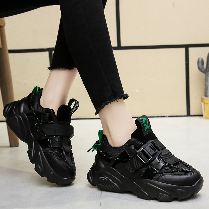 2020 Women Wedged Shoes Spring Sneakers Black Chunky Vulcanize Shoes Platform Sport Casual Shoes Women Sneakers Plus Size 41 42