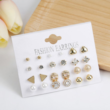 Fashion 12 pair/set Women Square Crystal Heart Stud Earrings For Women Piercing Simulated Pearl Flower Earrings Set Gift Jewelry pair of stylish faux pearl decorated heart earrings for women