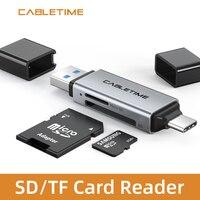 CABLETIME-lector de tarjetas 2 en 1, USB 3,0 y USB tipo C a Micro SD TF OTG, adaptador de lectura rápida para Xiaomi MacBook Air N421