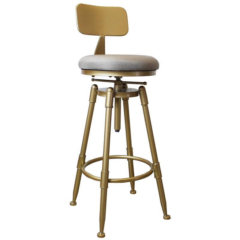 Nordic Golden Bar Stool Iron Rotating Lifting  Barstools With Back Metal High Leg Chair Height Adjustable