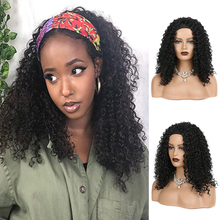Afro Synthetic Headband Wigs for Black Women Natural Black Wet and Wavy Heat Resistant Curly Wig Cosplay
