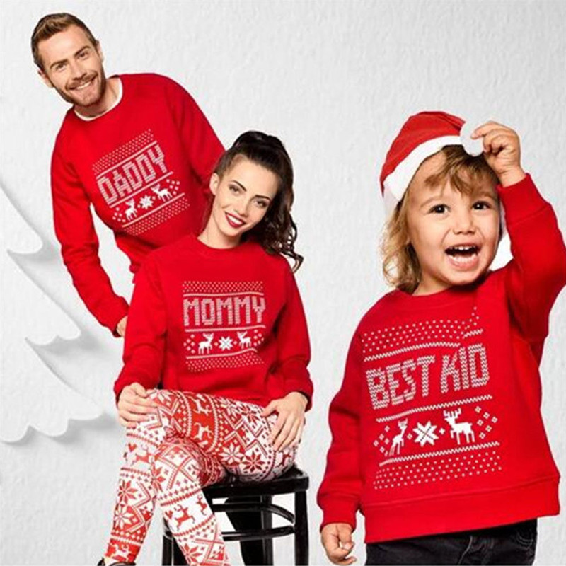 2020 Christmas Family Fashion Mother Father Baby Cotton Clothes Family Clothing Sweatshirt Hoodie Xmas Family Matching Outfits