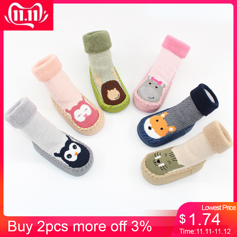 MUQGEW Newborn 2018 Baby Boys Girls Cartoon Animal  Floor Socks Anti-Slip Baby Step Socks Anti-skid child toddler footwear Floor