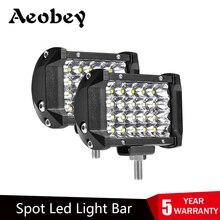 Barra de luz LED de 4 pulgadas, 72W, 4 filas, fuera de carretera para conducción, barco, coche, Tractor, camión, 4x4, SUV, 12V, 24V, 2 uds.