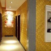 0.53*10M Flicker Mosaic Lattice Pattern Background Gold Leaf PVC Wall Sticker For Hotel Ceiling Decorative Wallpaper Roll