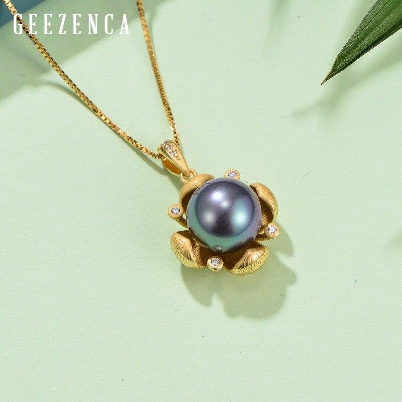 925 en argent Sterling 3d fleur coquille perle pendentif de luxe concepteur pendentifs sans chaîne bijoux fins femmes cadeau