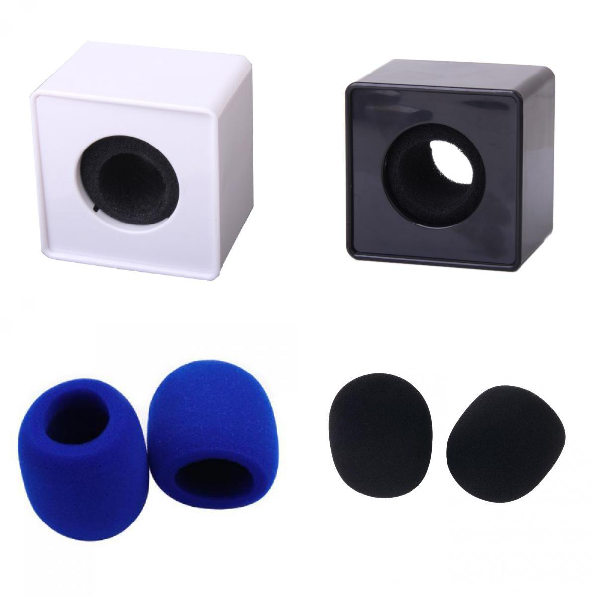 2x ABS Cube Microphone Logo Flag Station + 2 Pairs Mic Foam Covers For Interview