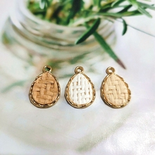 Knitting thread inlaid alloy Water drop shape diy accessories Earring Accessories handmade earring jewelry making 4pcs