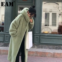 Fake Fur Jacket Hooded Women Coat Long-Sleeve Blue Big-Size EAM Loose-Fit Autumn Fashion