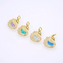 KAMAF CZ Swan necklace pendant  Opal Pendant Beads for Women,Crystal Pave Cubic Zircon Druzy Handmade Jewelry