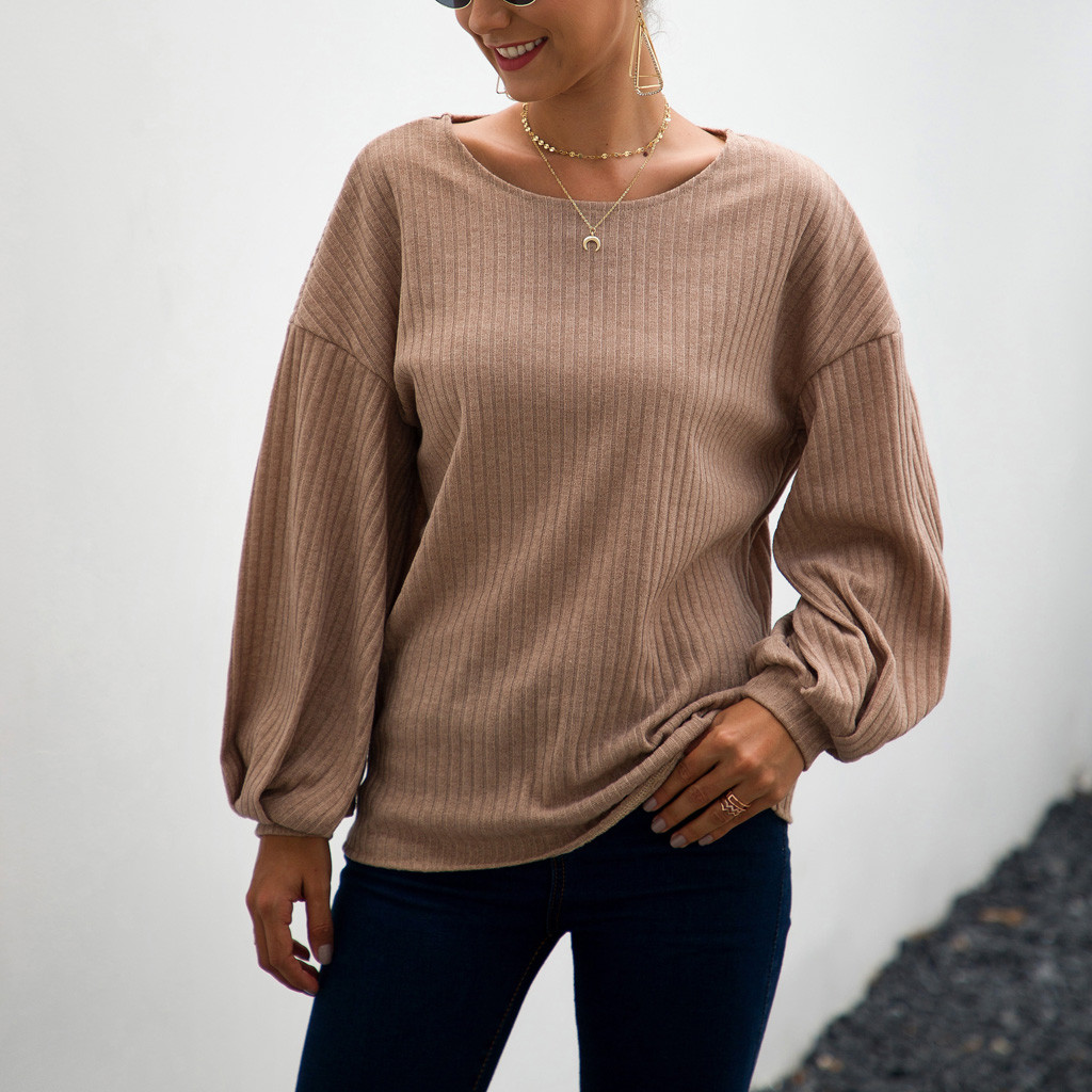 Damen Langarm Pulli Jumper Tops Locker Sweatshirt Baggy Gestrickt Bluse Oberteil