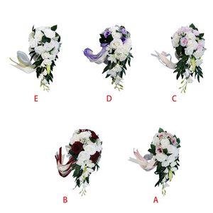 Image 2 - رومانسية الزفاف الزفاف الشلال باقة بوكيه ورد صناعي الزهور مع الشريط