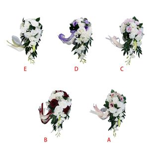 Image 2 - Romantic Wedding Bridal Waterfall Bouquet Artificial Rose Flowers with Ribbon