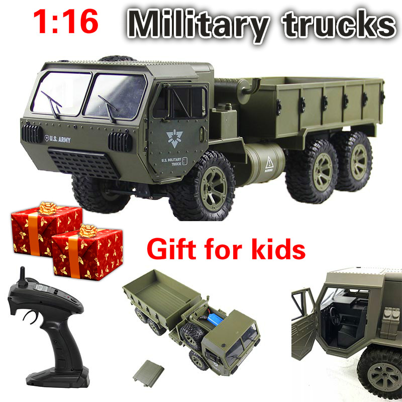 FY004A 1/16 2.4G 6WD Rc Car Proportional Control Toys US Army Military Truck RTR Model Toys Gift Toy Car Radio For Birthday