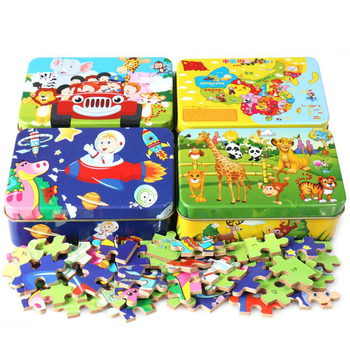 New 60 Pieces Wooden Puzzle Kids Toy Cartoon Animal Wood Jigsaw Puzzles Child Early Educational Learning Toys for Christmas Gift 2