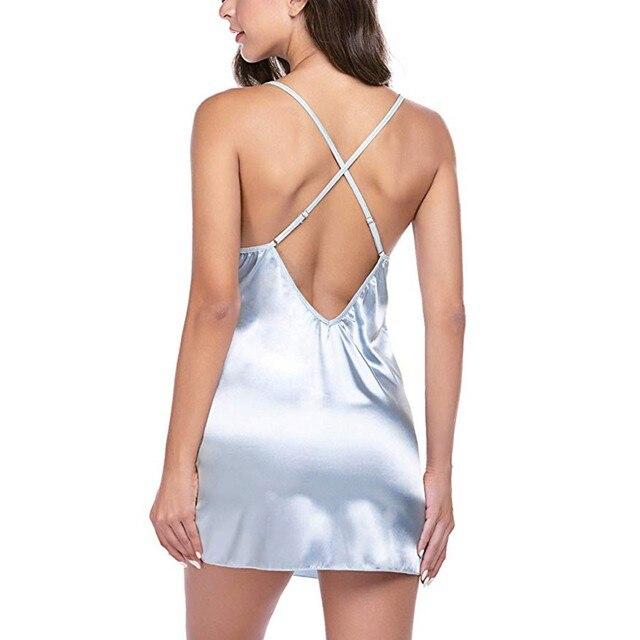 Sexy Lingerie Silk Nightgowns Satin Sleepwear Women Sleeveless Nighties V-neck Nightdress Nightwear Nightshirt Pijama Mujer#W 6