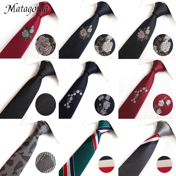 Matagorda High Quality Silk Necktie Men Tie Narrow Rose Embroidery 6cm Magnolia Neckwear Formal Gravata