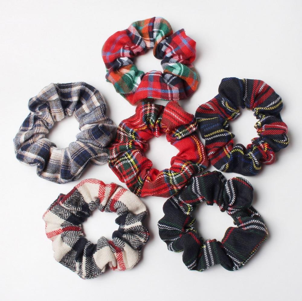 2pcs Plaid Scrunchies Set Autumn And Winter Women Hair Elastic Hair Bands Girls Hair Ties Ponytail Holders  Hair Accessories