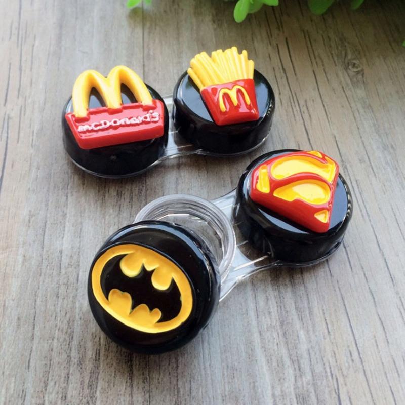 Contact Lens Case Transparent Set Superman Batman Fries Beauty Box Contact Lens Care Case Mate Box