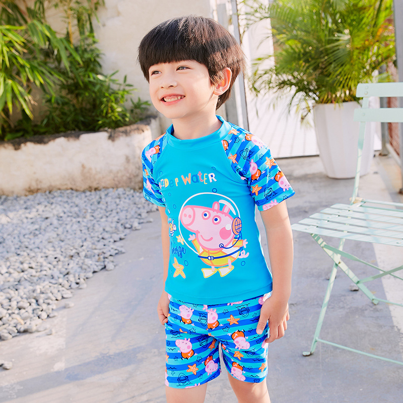 2019 New Style Piggy  Paige Split Type KID'S Swimwear BOY'S Swimsuit Swimming Cap Set Children Baby Swimming Trunks