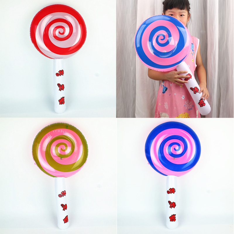Children Lighting Toy Inflatable Lollipop Toys Stall Toy Inflatable Long Rod Glowing Pool Beach Ball Play Party Toy DS29