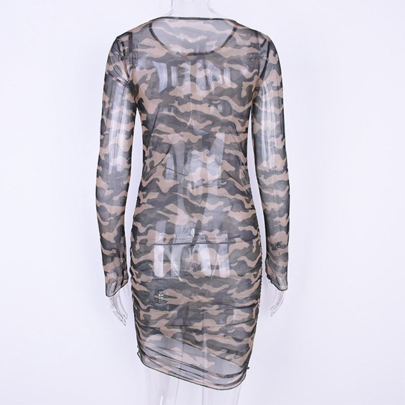 Womens Long <font><b>Sleeves</b></font> <font><b>Sexy</b></font> See-Through <font><b>Pullover</b></font> Mini Bodycon <font><b>Dress</b></font> Camouflage Printed Round Neck Party Clubwear <font><b>with</b></font> Thumb Hole image