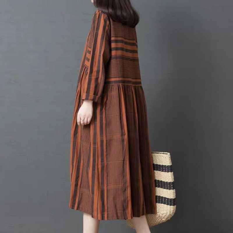 リネンブラウン女性ドレスファッションルースビッグサイズ O ネックプルオーバー Vestidos 韓国女性のエレガントなカジュアルロングドレス 2019 秋
