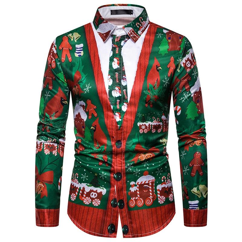 Men's Christmas Shirt 2019 Men's New Christmas Santa Printed Long Sleeve Shirt Fake Two Printed Men's Christmas Shirt