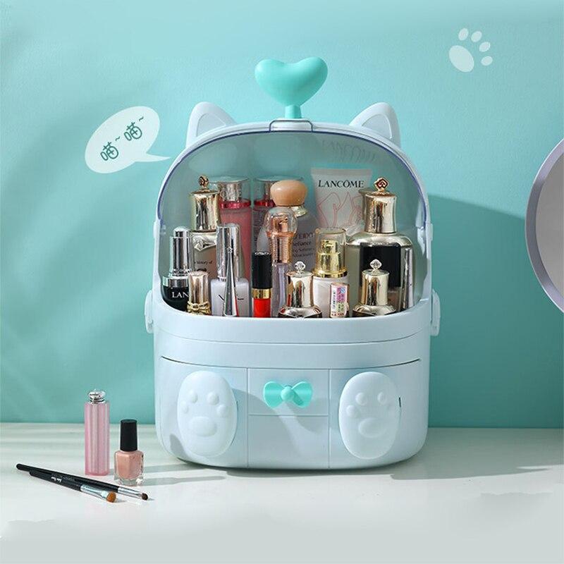 Fashion  Makeup Case Organizer Large Capacity Waterproof Dustproof Bathroom Cosmetic Storage Box Desktop Beauty Storage Drawer