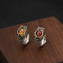 Silver 925 Jewelry Eye Of Giant Python Personality Open Ring Vintage Thai Silver Ring For Men And Women 2019 Gift(China)