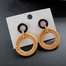 Trendy Korean Handmade Wooden Rattan Knit Drop Earrings For Women Hollow Round Big Geometric Vine Earrings Jewelry Accessories unfinished wood printing africa girl round drop earrings wooden african hiphop tribal handmade diy jewelry natural accessories