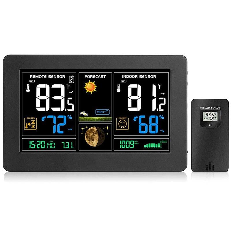 Station météo sans fil, hygromètre thermomètre extérieur intérieur, Station de prévisions météorologiques avec grand écran LCD couleur, capteur à distance,