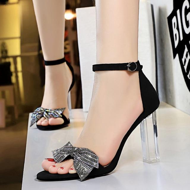 Rhinestone Open Toe  Block Heel Sandals 3