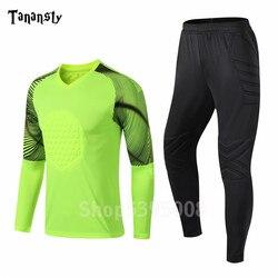 Goalkeeper Shirt Protection Uniform 2019 New Arrival Adult Football Winter Warm Sport training Suit Long sleeve Pants Soccer Men