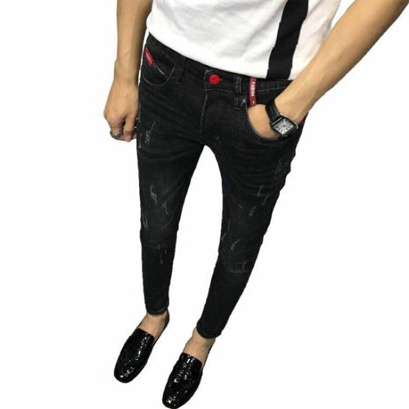 Wholesale 2020 School Students Teenagers Guy Pants Men's Korean Stretch Hip Hop Ripped Hole Ankle Length Leg Pants Pencil Jeans