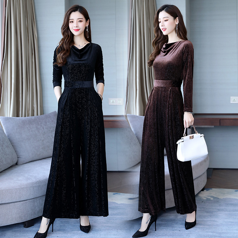 According To Lanshan Jumpsuit Women's Autumn Fashion Pants Suit 2018 New Slim Slimming Golden Velvet Jumpsuit Tide