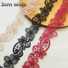 Delicate Water Soluble Embroidery Flower Lace Ribbon DIY Clothes Neckline Cuff Skirt Hem Hat Bag Shoulder Strap Trim Accessories v neckline contrast trim frill cuff top