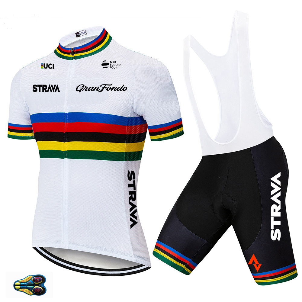 UCI World Team <font><b>STRAVA</b></font> Cycling Jersey <font><b>Bike</b></font> Shorts Suit Ropa Men's Summer Quick Ddry Pro BICYCLING <font><b>shirts</b></font> Maillot Culotte Wear 20D image