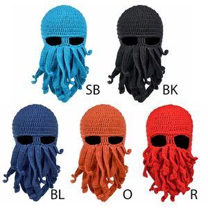 Men Women Creative Funny Tentacle Octopus Knitted Hat Long Beard Beanie Cap Balaclava Winter Warm Halloween Costume Cosplay Mask(China)