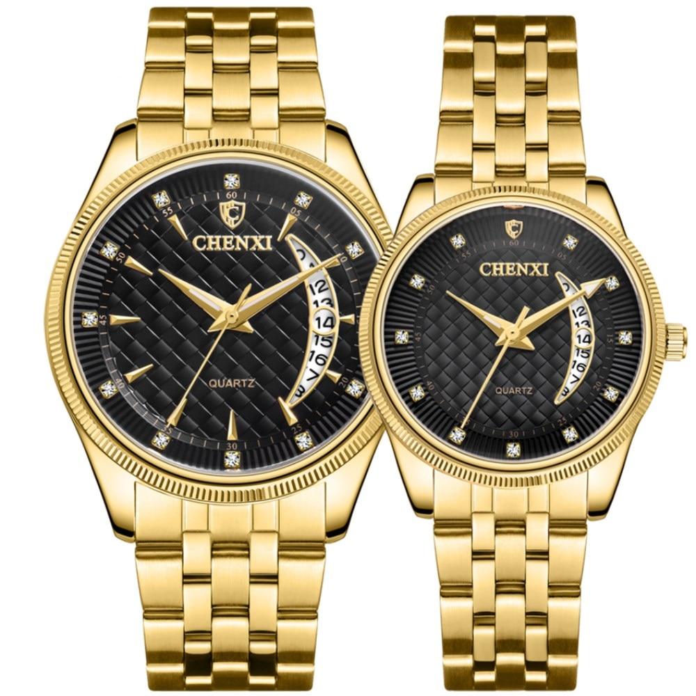 CHENXI Hot Fashion Creative Watches Women Men Quartz Watch Golden Lovers' Wristwatches Luxury Clock Brand Watches Relojes Hombre