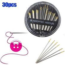30 Uds agujas de coser a mano variadas populares, agujas de coser a mano para el hogar, agujas de bordar, estuche de agujas Vintage, herramientas de costura DIY