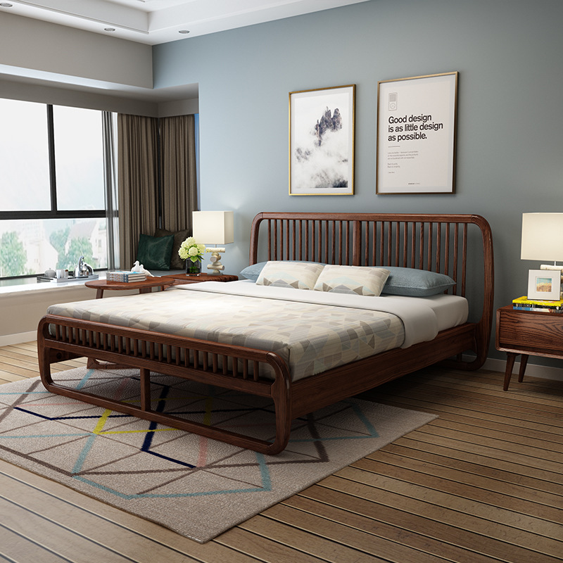 Wood Wax Oil Nordic Wood Bed 1.8 M 1.5 M Ash Wood Bed Simple Personality C Bed Double Bed