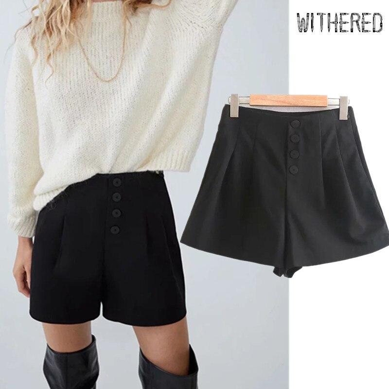 Withered England Style Winter Shorts Women Solid High Waist Single Breasted Loose Harem Short Feminino Plus Size Women Short